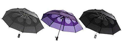 Gustbuster Metro Wind Resistant Umbrellas, 3 Pack Bundle, Blk, Purple & Grey