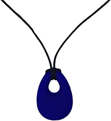 Collier /à m/âcher en silicone Jouets de dentition ADHD SPD Autisme et b/âton /à m/âcher oral bleu marine