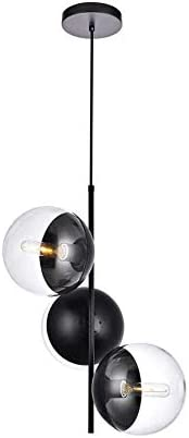 A1A9 Sphere Glass Ceiling Lights, Mid Century Modern Clear Glass Globe Sputnik Chandelier with 3 Lights, LED Pendant Lamp Fixture for Dinning Room, Living Room, Office, Bedroom, Lounge Black