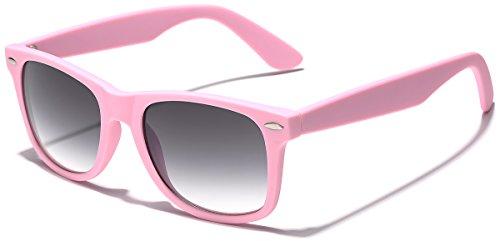 Colorful Retro Fashion Sunglasses - Smooth Matte Finish Frame - Pink ()