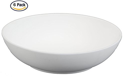 Creative Hobbies 8 Inch Coupe Pasta Bowls, Case of 6, Unfinished Ceramic Bisque, With How To Paint Your Own Pottery Booklet