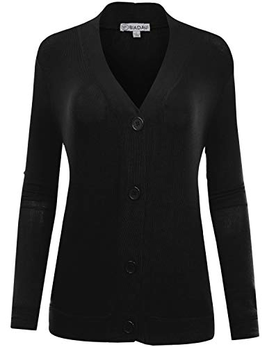 BIADANI Women's Long Sleeve Button Cardigan witih Pockets Black XXX-Large