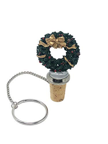 Christmas Wreath Wine and Beverage Bottle Stopper (Wine Sale Holiday Stoppers)
