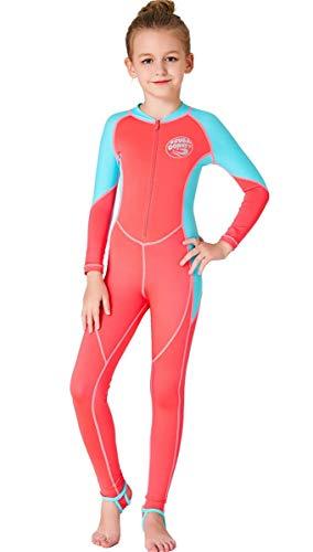 (JELEUON Little Kids Girls One Piece Water Sports Sun Protection Rash Guard UPF 50+ Long Sleeves Full Suit Swimsuit Wetsuit Orange)