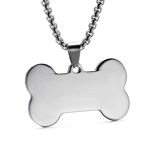 Davitu Custom Engraved Blank Anti-Lost Pet ID Necklace Dog Tag Stainless Steel Name Telephone Number Necklaces /& Pendants Jewelry Metal Color: Silver, Length: 55cm