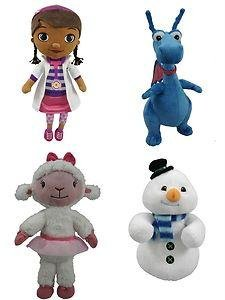Just Play Doc Mcstuffins Plush Toy Set of 4 Dolls Include : Lambie , Stuffy , Chilly & Doc