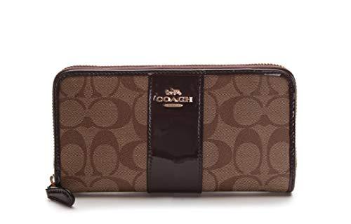 - Coach Women's Signature Patent Accordion Zip Wallet No Size (IM/Khaki/Oxblood)