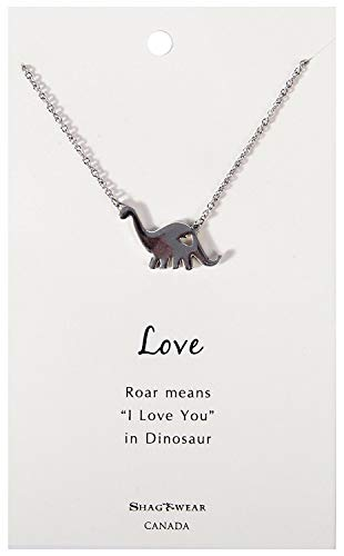 Shag Wear Favourite Animals Inspirations Quote Pendant Necklace (Dinosaur Pendant)