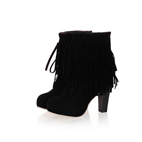 Amoonyfashion Mujeres's Round Toe High Heels Imitated Suede Solid Botas Con Tacones Y Borlas Chunky Black