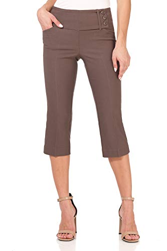 Rekucci Women's Ease into Comfort Wide Waist Capri with Back Lacing Detail -