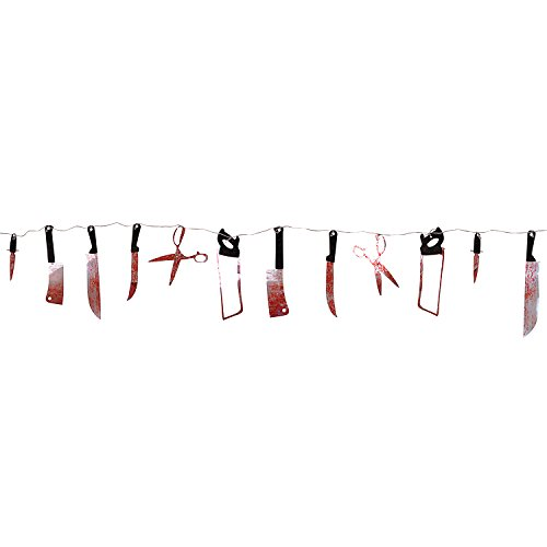 Super Z Outlet 7.5 ft Long Paper Bloody Splatter Halloween Horror Scary Metallic Butcher Knife Chainsaw Weapon Killer Tools Garland Party Decoration Haunted House Banner]()