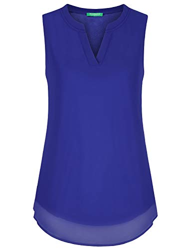Kimmery Work Blouses for Women,Classy Chiffon Flattering Split Neck Sleeveless Comfort Tunic Summer Stylish Cool Design Fast Dry Ladies Juniors Career Wear Royal Blue X Large