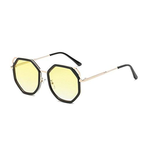 Métal Lunettes mm soleil largeur de Cadre Yellow Mode 62 Conduite Femmes Cadre Lunettes GAOLIXIA protection de Lunettes de Hommes soleil UV400 qw7IxU