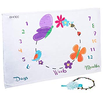 ishode First Year Monthly Baby Milestone Blanket Super Soft Minky Fleece Photo Posing Prop for Newborn Girls & Boys-12-Month Photography Background Mat -Adorable Headband & Flower Garland Included