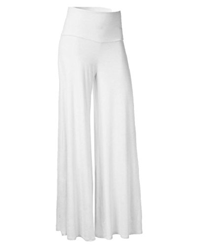 SportsX Women's Long Pants High Waisted Leisure Career All-Match Wide Leg Pants White 2XL (Wide Leg Career Pant)