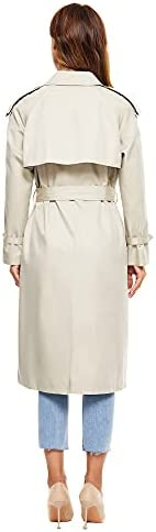 WAIDONGBEI Women's Trench Coat, Double-breasted Rain Coat with Belt 100% Cotton