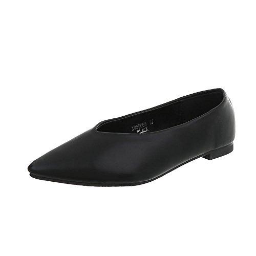Damen Schuhe Ballerinas Pumps Modell Nr.1Schwarz