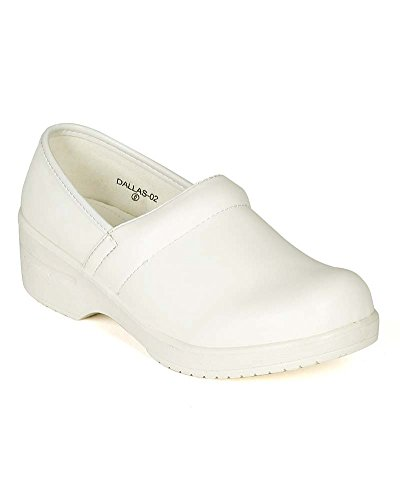 Refresh Women Leatherette Round Toe Slip On Clog BH36 - White (Size: 8.0) by Refresh (Image #5)'