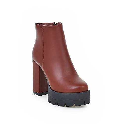 Closed Round Women's Allhqfashion Material Soft Brown Toe Heels Solid Zipper High Boots XnIaaO4