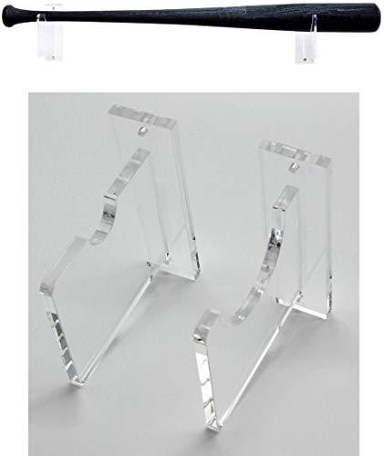 Top Stage Clear Acrylic Baseball Bat Rack Display Shelf Holder Wall Mount (Horizontal Wall Rack) (Hanging Mount Baseball Bat Wall)