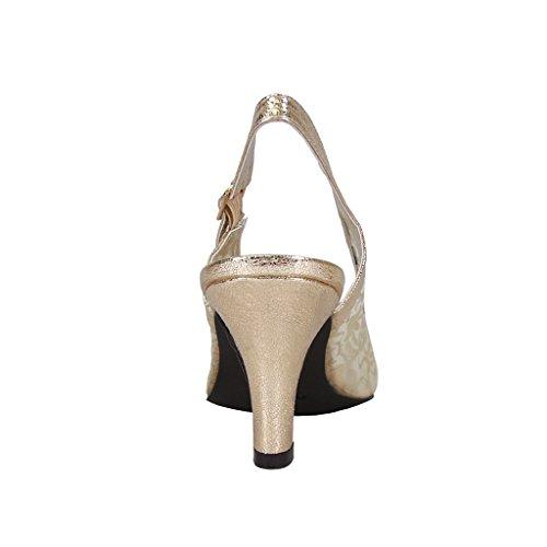 Fic Blom Ashley Kvinnor Bred Bredd Peep Toe Nylonnät Klänning Slingback (storlek / Mätning Guide Tillgänglig) Guld