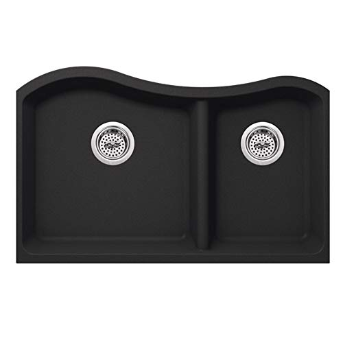 CAHABA CA324233-B 32 1-2 x 20 Quartz 60-40 Double Bowl Kitchen Sink in Onyx Black with Twist and Lock Strainer