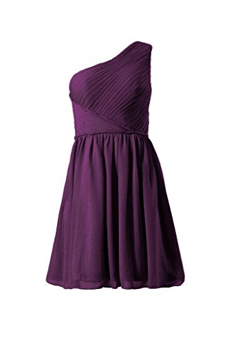 Knee Chiffon Dress One BM2394 Dress DaisyFormals Bridesmaid Length Cocktail 2 Shoulder byzantium Y6YqxFI