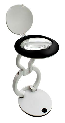 - Folding Desk Magnifier with 3 LED's 60MM Lens 3.0X Adjustable Lens Pocket Size Portable Reading Hobbyist (White)
