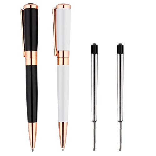 Ballpoint Pen, Rose Gold Pens Medium Point 1.0mm Black Ink Metal Barrel 2-Count Gift Pen with Plastic Case
