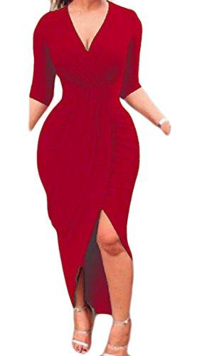 Confortables Femmes Irrégulières Élégantes Robes De Club Moulantes Solide Sexy Col V Rouge