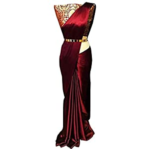Kiona Fashion Women's Satin Saree With Blouse (MD-171219-5_Maroon)