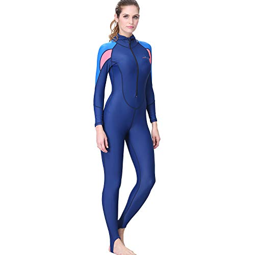 Colmkley Womens Colorblock Wetsuit Full Body Hooded Surfing Scuba Diving Front Zip Snorkeling Swimming Suit