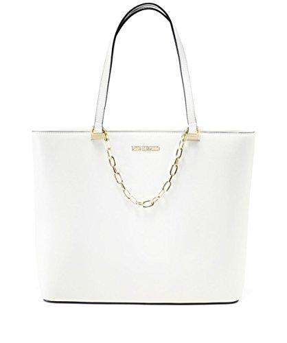 Love Moschino Zip Tote Mujer Handbag Negro Blanco