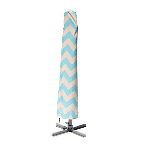 Nest & Nook Patio Umbrella Cover | Umbrella Covers for Outdoor Umbrellas Waterproof 9ft to 13ft (Offset) - Blue/Creme Chevron Striped, Will NOT Fade | Easy-to-use Outdoor Parasol Covers with Rod (An Is What Offset Umbrella)