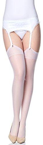 Merry Style Mujer Transparentes Medias de Liga MS 226 15 DEN Blanco