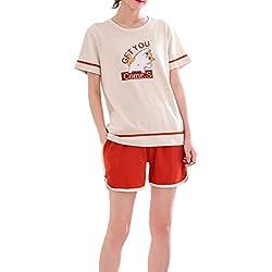 Vopmocld Pijama de algodón para niñas, para Verano, con diseño de Gato, Manga Corta, 2 Piezas, Pijamas de 8 a 16 años, Anaranjado, XX-Large(US Girls 15-17 Years)