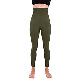 Homma Activewear Thick High Waist Tummy Compression Slimming Body Leggings Pant (Small, Olive)