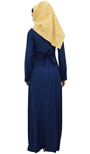Navy Bimba with Hijab Abaya Blue Cotton Ladies 24 Jilbab Rayon Muslim Dress d6n6q8xrwf