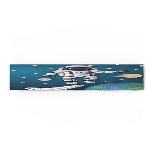 CHARMHOME Table Runner Space Exploration Astronaut Space Odyssey Table Top Decoration Cotton Linen Cloth Placemat for Kitchen Dining Banquet Use 18