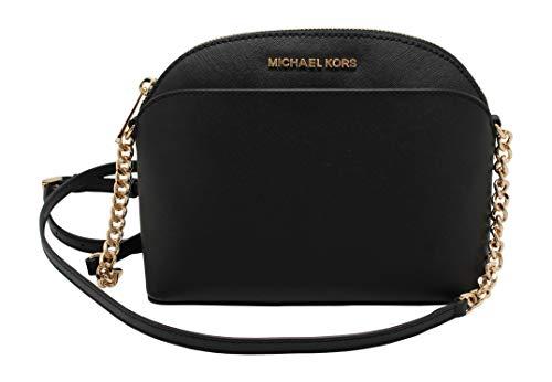 Michael Kors Emmy Saffiano Leather Medium Crossbody Bag (Black Saffiano) (Purse Black Michael Kors)