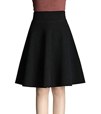 Wincolor Women's Elastic High Waist Stretched Woolen Blend A-line Pleated Midi Tartan Skirt