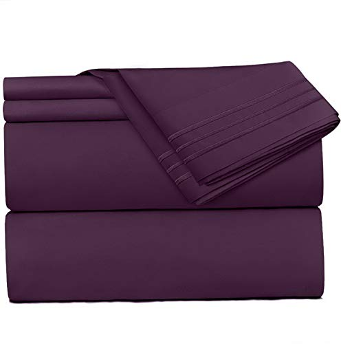 Mikash 5 Piece Sheet Set - 1800 Deep Pocket Bed Sheet Set - Hotel Luxury Double Brushed Microfiber Sheets - Deep Pocket Fitted Sheet, Flat Sheet, Pillow Cases, Split King - Purple | Model SHTST - 220