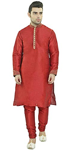 SKAVIJ Men's Art Silk Kurta Pajama Set Party Dress (Large, Red)