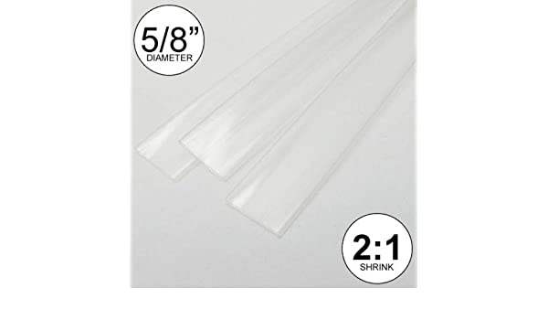 5/8 ID White Heat Shrink Tube 2:1 ratio wrap 2x24 = 4 ft inch/feet/to 16mm