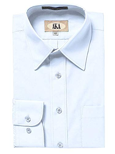 AKA Boys Wrinkle Free Solid Long Sleeve Dress Shirt - Light Blue 7 by AKA