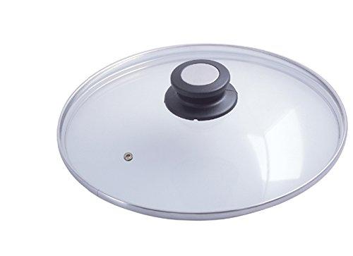 De Buyer 4112.32 Glass Lid with Bakelite / Stainless Steel Knob, 32 cm Diameter 411232