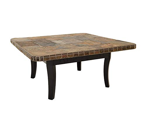 (Wood & Style Furniture Square Coffee Table, Black/S-Slate Premium Office Home Durable Strong)