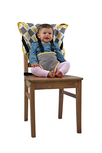(Cozy Cover Easy Seat Portable High Chair (Charcoal w/Yellow) - Quick, Easy, Convenient Cloth Travel High Chair Fits in Your Hand Bag for a Happier, Safer Infant/Toddler)