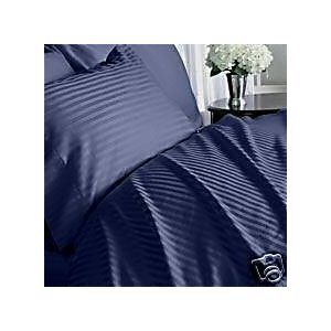 - 300 Thread Count Stripes Navy Queen Size Sheet Set