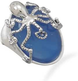 Blue Simulated Agate Octopus Fashion Ring Oval Silvertone Brass Animal Sea Creature Big